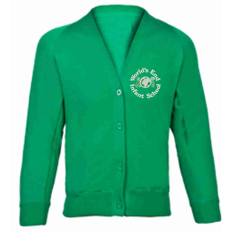 Green Cardigan with School logo to left breast