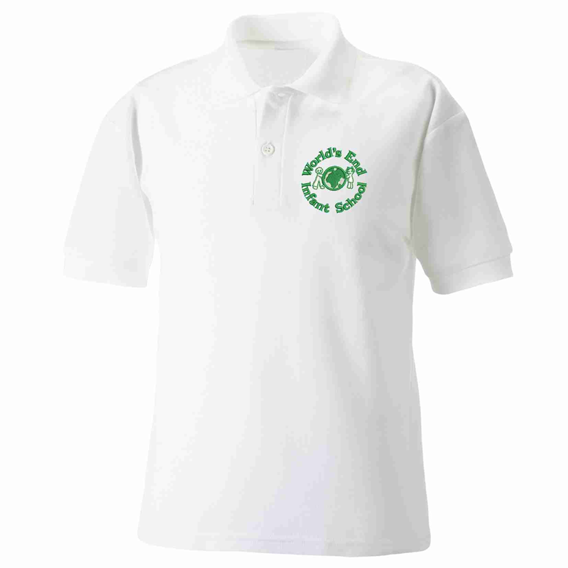 White polycotton poloshirt with School logo to left breast