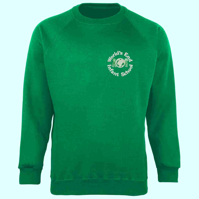 Green Crew Sweatshirt with School logo to left breast